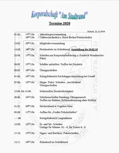 Termine 2020 Am Stadtrand©Holtorfer Schießsport- und Schützenfestverein